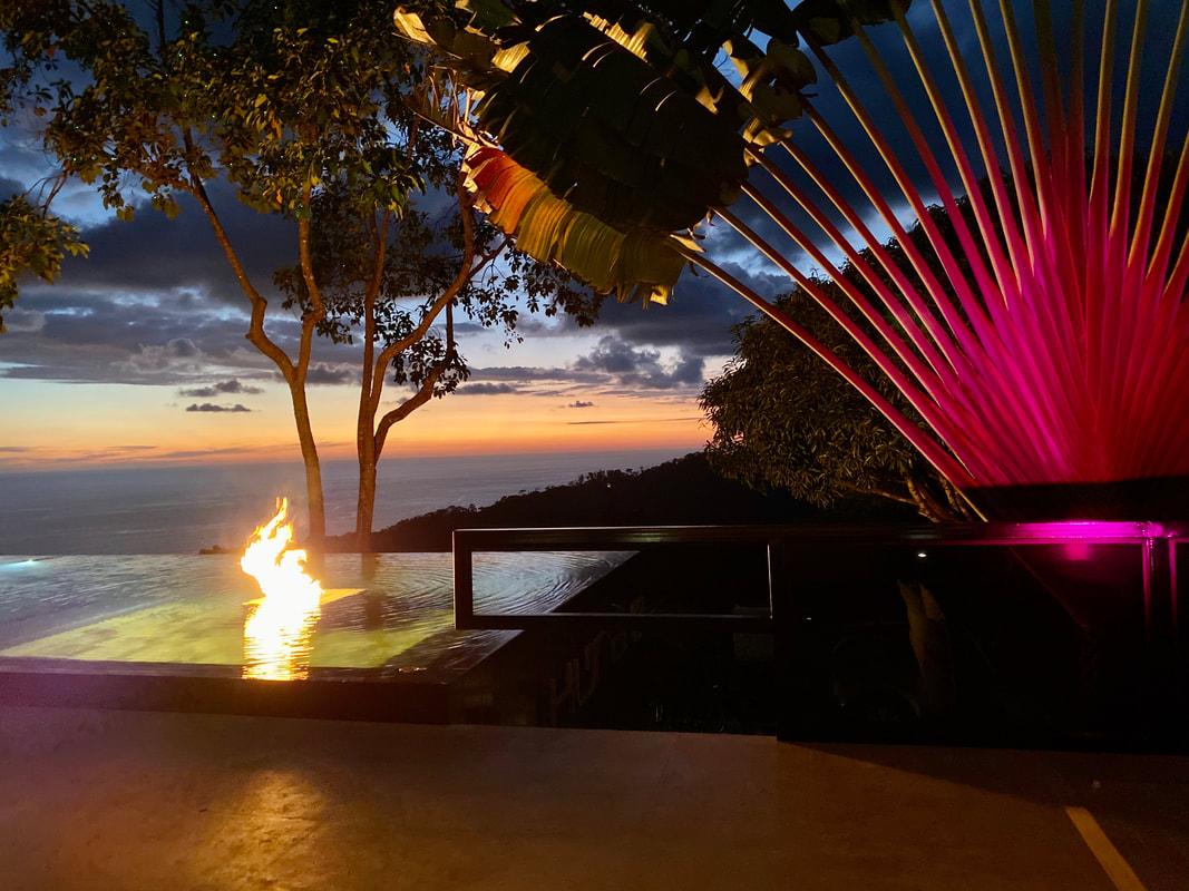 Kura Design Villas Uvita Costa Rica Pool by night