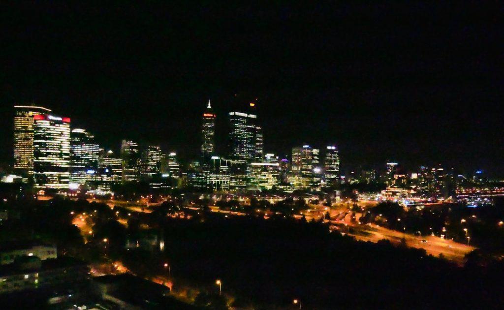 Kalgoorlie to Perth skyline by night