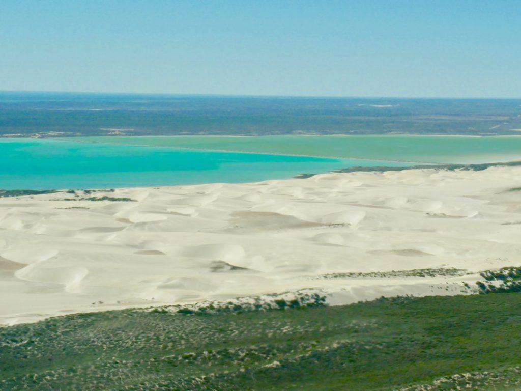 Monkey Mia to Ningaloo ReefShark Bay Aviation Scenic Flight Sand dunes from above