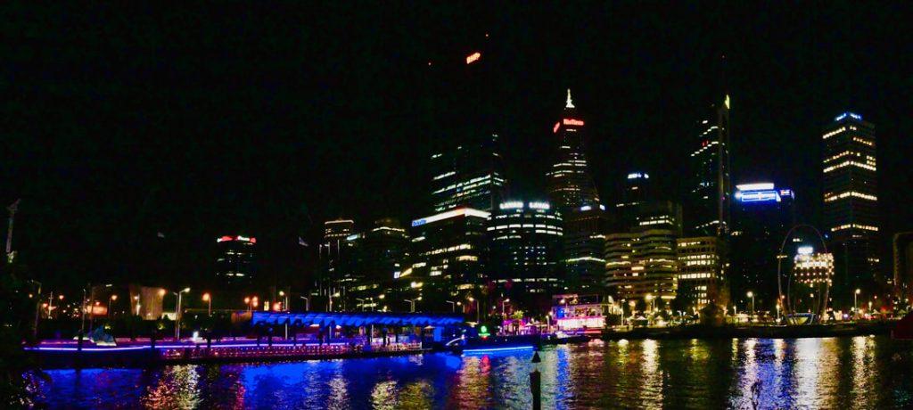 Arrival in Perth Elizabeth Quay by night