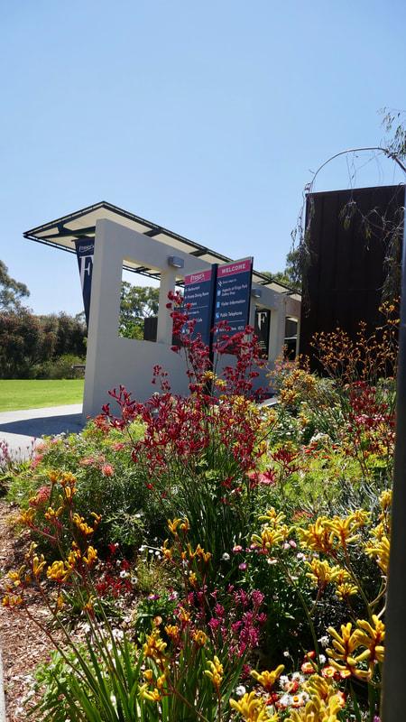 Kalgoorlie to Perth Flower filled entrance to Fraser's restaurant, King's Park