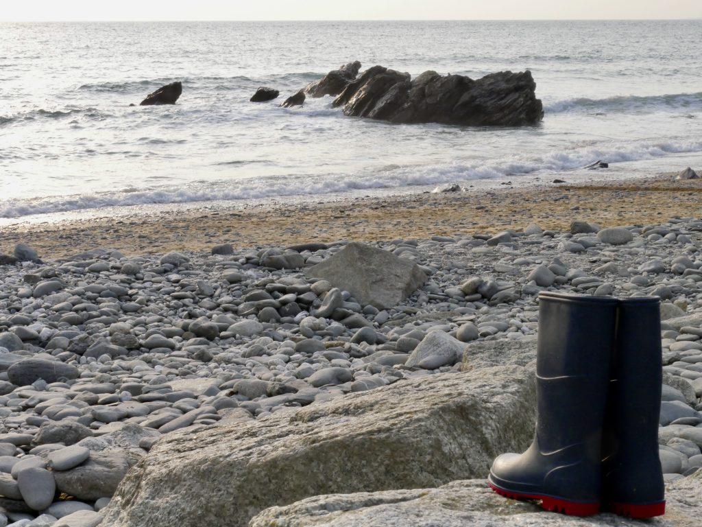 Cornish Beach Life - Wellies by the shore
