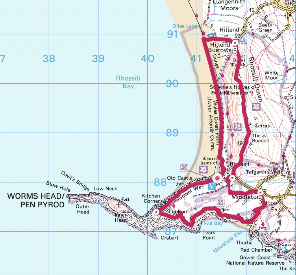 Gower Worm's Head Rhossili Bay Walk Route