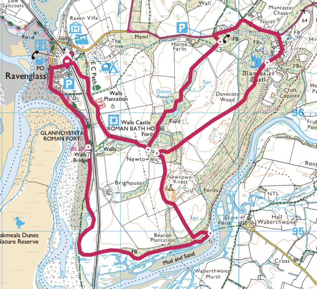 Western Lake District Ravenglass Circuit Map