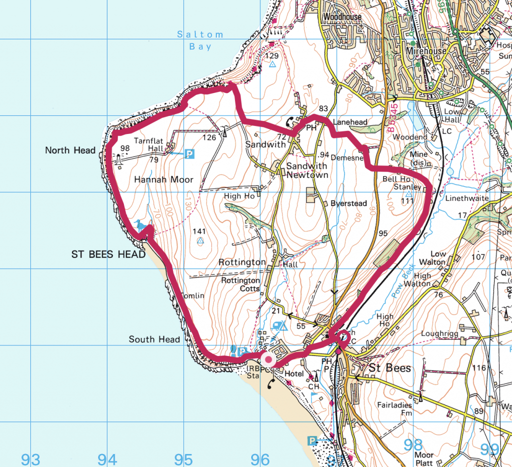 Western Lake District St. Bees Map